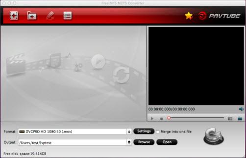 Pavtube Free MTS/M2TS Converter for Mac 1.0 full